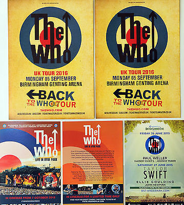 5 X The Who Flyers - Back To The Who 51 2016 Tour - Hyde Park 2015 Etc