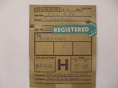 BR Wagon Label Jarrow To Hereford 1969