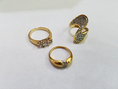 Vintage Lot Of 3 Costume Fashion Jewelry Color Ring - 4441