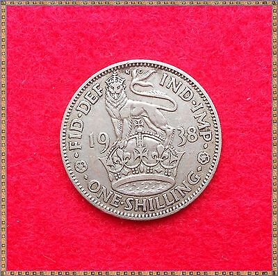1938 George Vi Silver English One Shilling (1/-) Coin.