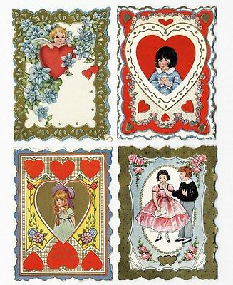 CUPID Children and HEARTS - 4 Whitney Made VALENTINES c 1920