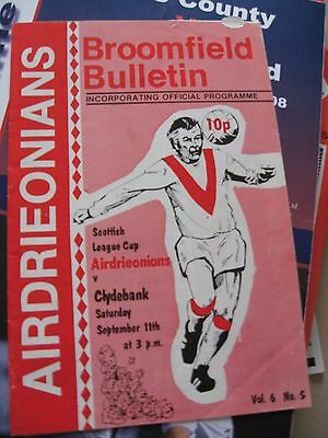 1976-77 Airdrieonians v Clydebank Scottish League Cup 11.9.1976