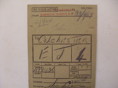 BR Wagon Label Norwich Thorpe To Colchester 1967