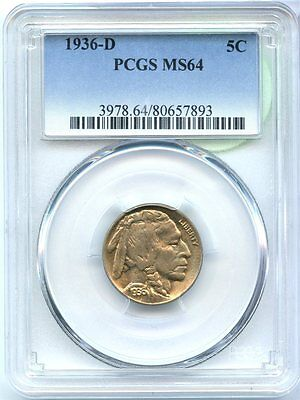 1936-D Buffalo Nickel - PCGS MS 64 Certified - Denver Mint - SM27