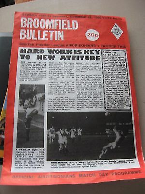 1980 Airdrieonians v Partick Thistle Scottish Premier League 29.11.1980