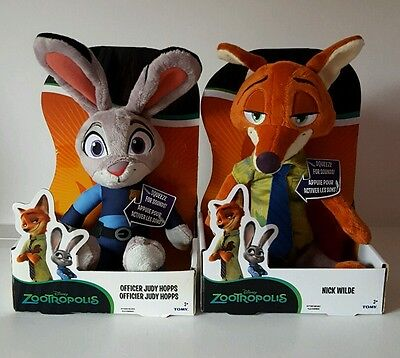 NEW Disney Zootropolis Officer Judy Hopps AND Nick Wilde Soft Plush Toy Gift