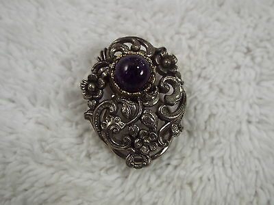 Silvertone Flower Filigree Purple Cabochon Dress Scarf Clip  (D63)