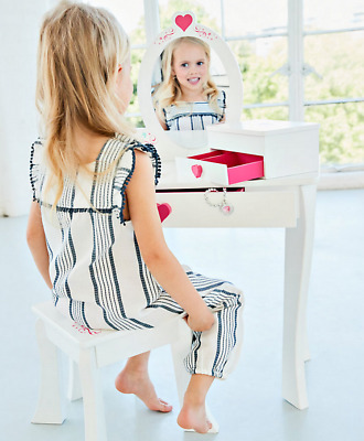 Children Dressing Table and Stool Set Wood White Mirror Girls Modern Bedroom