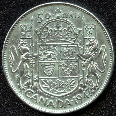 1947 Canada 50 Cent Piece (Curved 7) Double Punch on 7 (11.66 Grams .800 Silver)