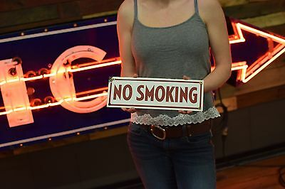 PORCELAIN NO SMOKING ADVERTISING SIGN OIL GAS STATION Conoco Continental Marked