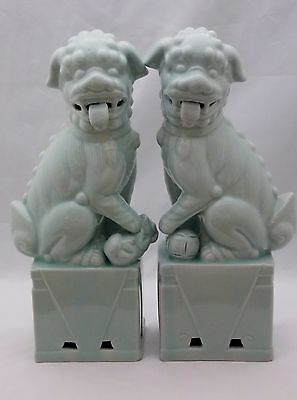 """Chinese Pair Green Celadon Glazed 12"""" Foo Dogs Statues"""
