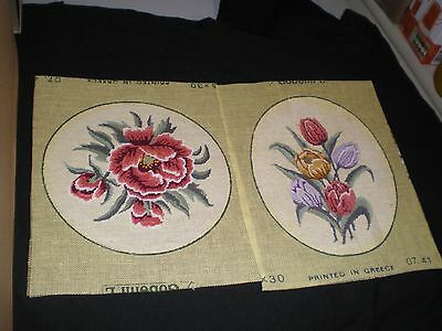 Pair Of Floral Cross Stich Pictures