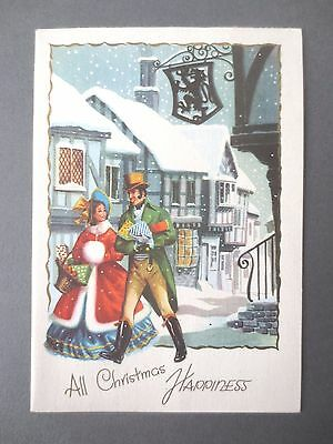 Vintage CHRISTMAS Card Regency Couple Crinoline Lady With Presents Snowy 1950s