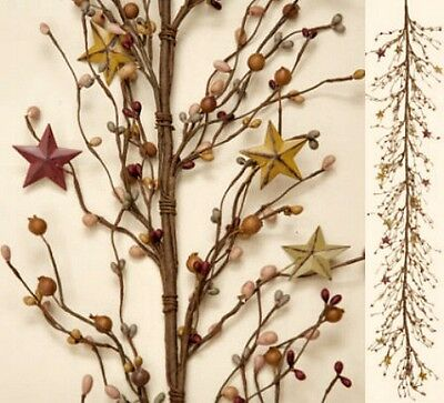 New Primitive Country Green Burgundy Tan Rusty Star Berry Garland Swag Vine