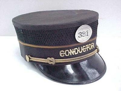 Vintage Antique ILLINOIS CENTRAL RAILROAD Conductors Uniform Hat & Badge 381