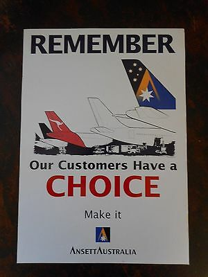 """ANSETT AUSTRALIA """"Remember Our Customers have a Choice"""" POSTER"""