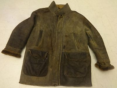 Owen Barry Sherpa Shearling Leather Motorcycle Jacket Sz M Bomber 90S England