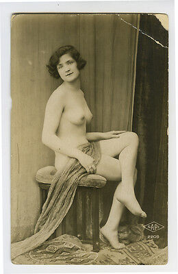 1920s Vintage Sexy Beauty French NUDE FLAPPER damaged photo postcard