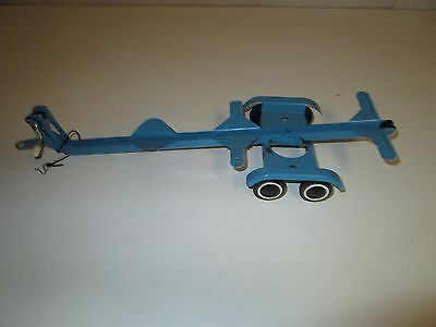"Vintage 14"" Blue Pressed Metal Dual Axle Toy Boat Ship Trailer Unmarked Tonka"