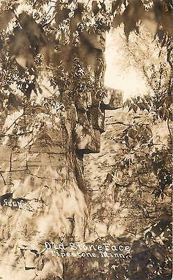 "RPPC PIPESTONE, MN Minnesota  ""OLD STONE FACE""  Rock Formation 1937    Postcard"