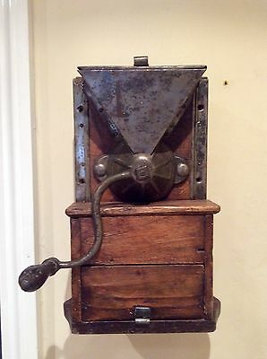 Vintage French Coffee Grinder, Metal And Wood, Wall Mounted.
