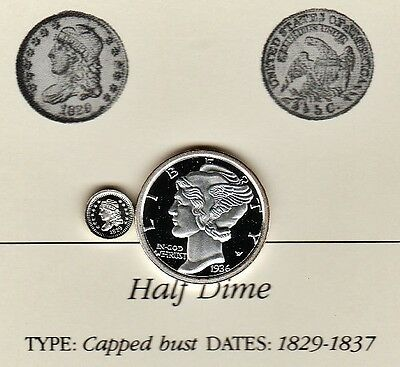 1829 Capped Bust Half Dime 5c Franklin Mint Miniature Silver Coin Cameo Proof