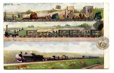 LNWR OFFICIAL POSTCARD: GOODS TRAINS in 1837 & 1904.