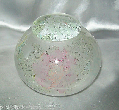 Satin Glass Stunning Bowl & Lid Pastel Etched Flowers & Butterflies  Signed