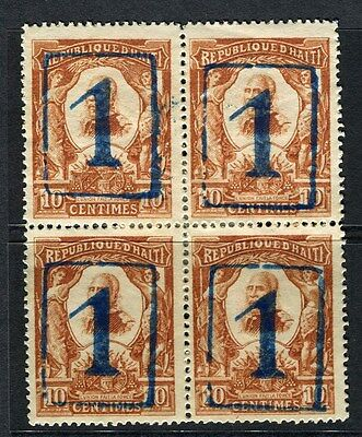 HAITI;  1906 early surcharged issue Mint hinged 1/10c. BLOCK of 4