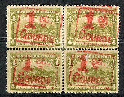 HAITI;  1917 early surcharged issue Mint hinged 1/4c. BLOCK of 4
