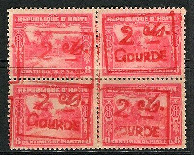 HAITI;  1917 early surcharged issue Mint hinged 2/8c. BLOCK of 4