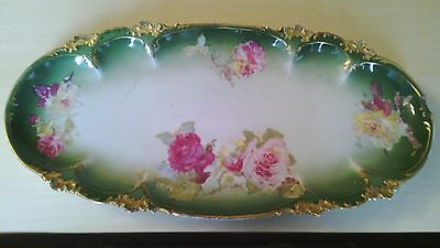 """1900's Limoges  France 13"""" Hand Painted Roses Oval Platter Tray"""