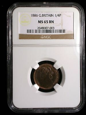 Great Britain 1886 1/4 Penny Farthing *NGC MS-65* Only 1 Graded Higher