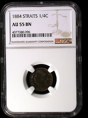 Straits Settlements 1884 1/4 Cent *NGC AU-55* Malaysia Scarce This Nice Low Min