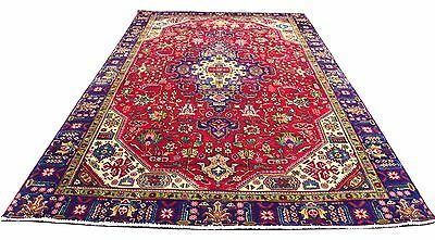 Hand Knotted Semi Antique Persian Heriz Wool Rug 9x6 (3AA)