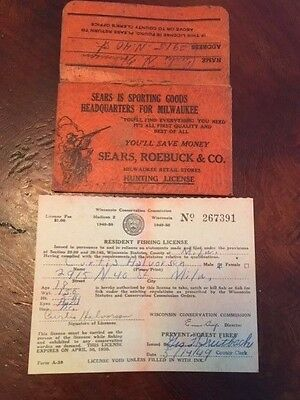 1949 Wisconsin Fishing license with holder