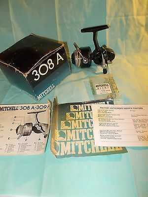 Mitchell 308A Spinning Reel with Original Box, Papers and Extra Bail Springs