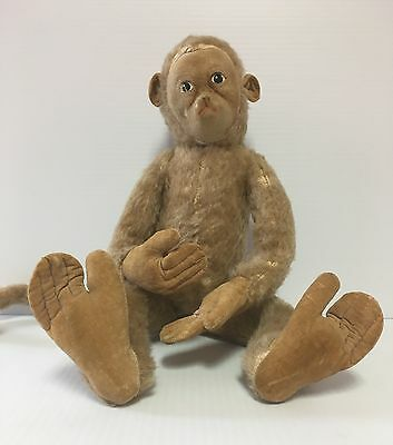 Merrythought Antique Toy Stuffed Jointed Wire Felt Mohair Monkey England 1930-40