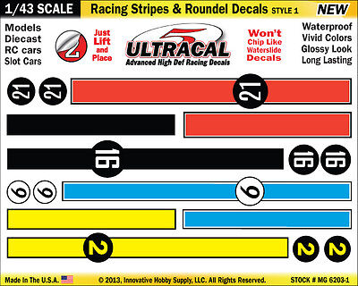 MG6203-1 - 1/43 UltraCal Stripes & Roundel Decals Stickers Fits Carrera Go SCX