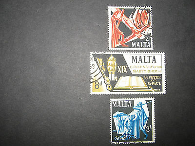 Malta 1967 SG382-384 Peter & Paul Martyrdom used set of 3 good clean stamps