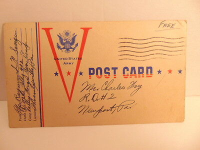 "WWII era/ 1943 ""V-Maill"" postcard/  postage free from Valley Forge Gen. Hospital"