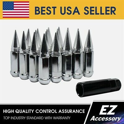 "24 Pc Set Spike Lug Nuts ¦ Chrome ¦ 1/2"" ¦ Ford Lincoln Mercury 