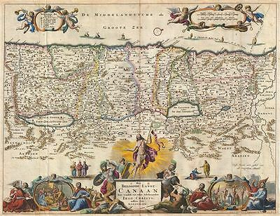 1702 Stoopendaal Map of Canaan (Israel, Palestine, Holy Land)