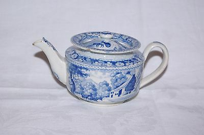 Antique Pearlware Small Teapot Blue & White Transfer Rural Scene Tea Pot c1820