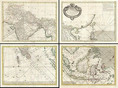 1771 Bonne 4 Part Map of Tonkin (Vietnam) China, Formosa (Taiwan) and Luzon (Phi