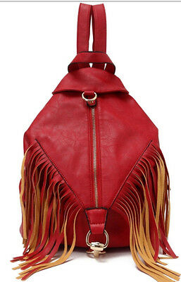 NWT RED Textured Faux LEATHER FRINGE Backpack Satchel BOHEMIAN GYPSY Handbag Bag