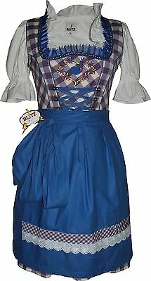 Germany,German,Trachten,Oktoberfest,Edelweiss,Dirndl Dress,3-pc.Sz.10,Blue/Lilac