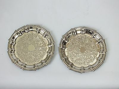 2 Vintage Silver Plated  Wine Champagne Bottle Coasters Cavalier Ornate