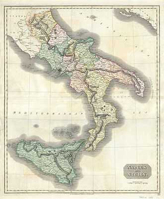 1817 Thomson Map of Naples and Sicily