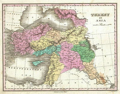 1827 Finley Map of Turkey in Asia, Iraq and Israel - Palestine